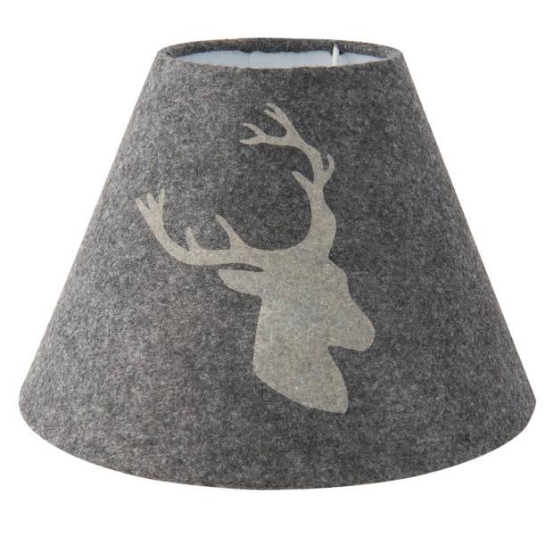 Clayre & eef lampenkap ø 23x17 cm - grijs - katoen