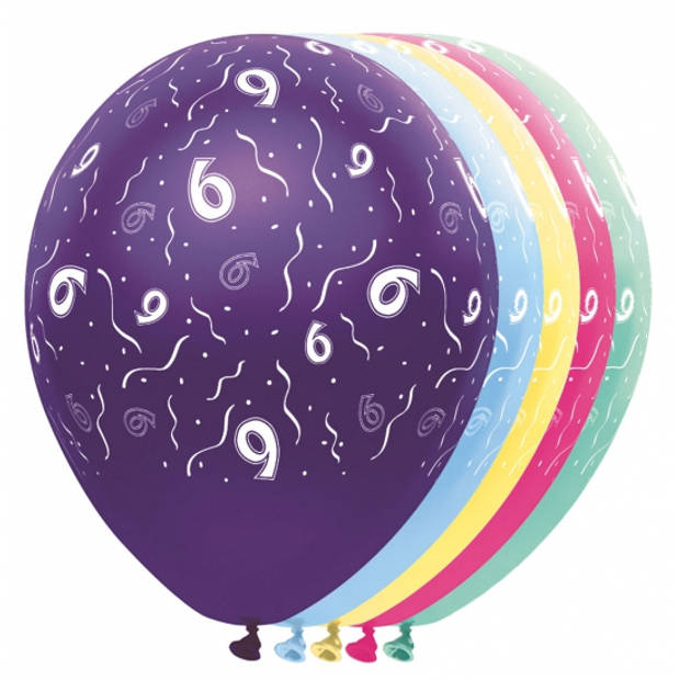 5x stuks Helium leeftijd verjaardag ballonnen 6 jaar thema - Feestartikelen