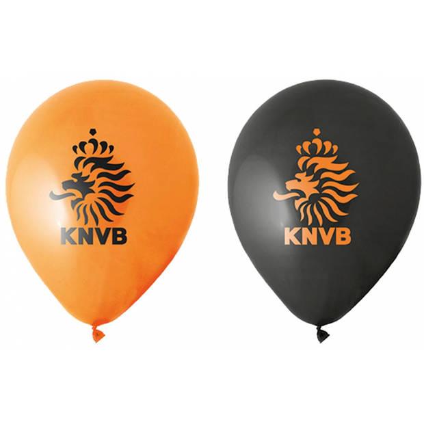 8x stuks Oranje en zwarte KNVB voetbal ballonnen