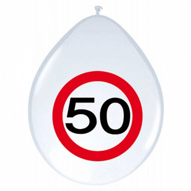 8x stuks Ballonnen 50 jaar verkeersbord feestartikelen/versiering verkeersbord