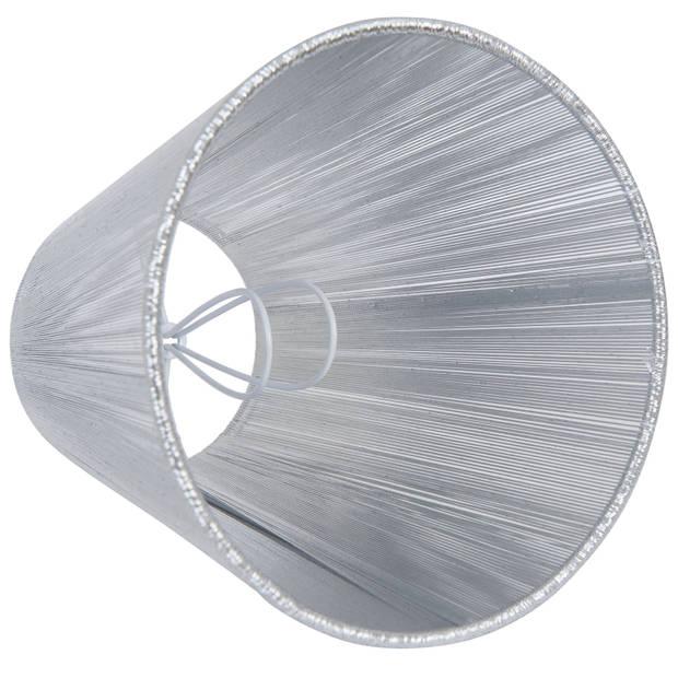 Clayre & eef lampenkap ø 14x15 cm/e14 - zilver - katoen
