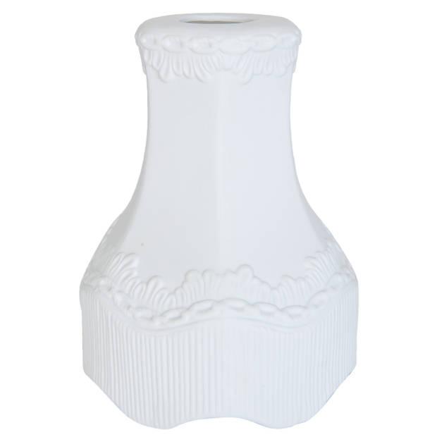 Clayre & eef lampenkap hang ø 16x21 cm - wit - keramiek