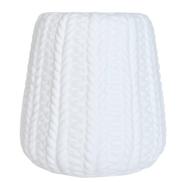 Clayre & eef lampenkap hang ø 13x14 cm - wit - keramiek