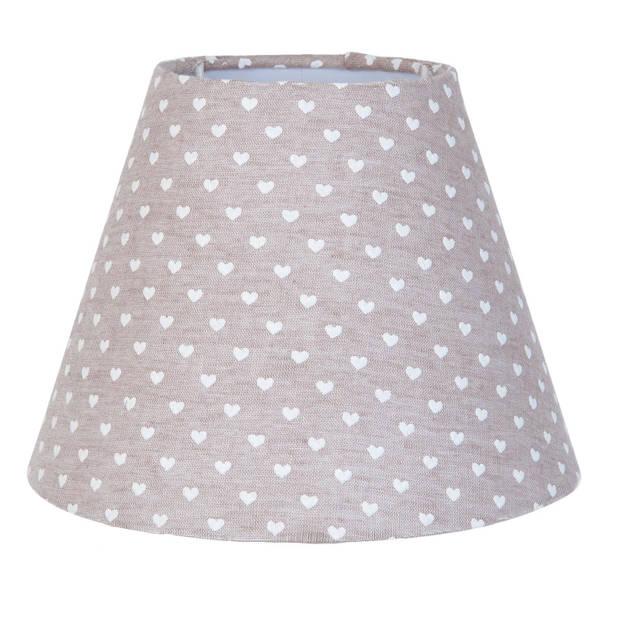Clayre & eef lampenkap ø 17x13 cm - grijs, wit - katoen