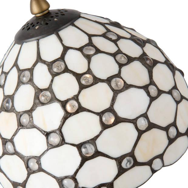 Clayre & eef tafellamp tiffany compleet ø 21x38 cm e14/max. 40 w - bruin, roze - ijzer, glas, kunststof