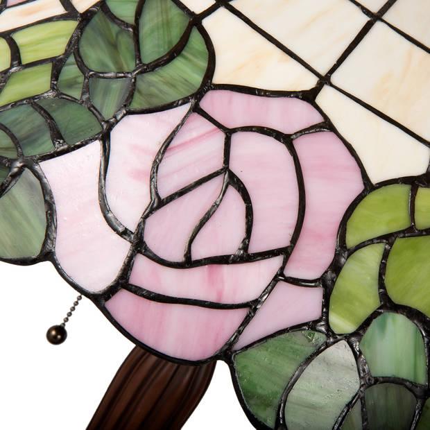 Clayre & eef tafellamp tiffany ø 40x61 cm e27/max. 2x60 watt - bruin, groen, roze - ijzer, glas, kunststof