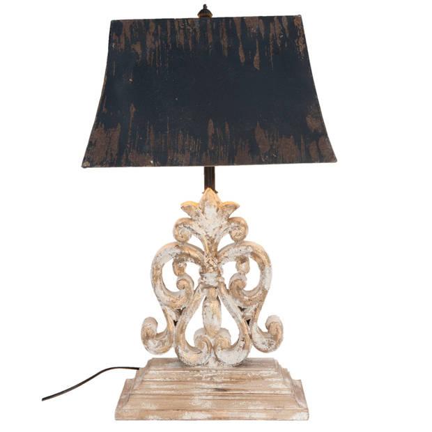 Clayre & eef tafellamp compleet 40x28x70 cm e27 max 60w - bruin, wit, zwart - ijzer