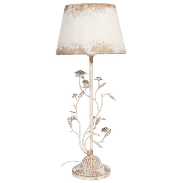 Clayre & eef tafellamp compleet ø 33x79 cm e27 max 60w - wit - ijzer