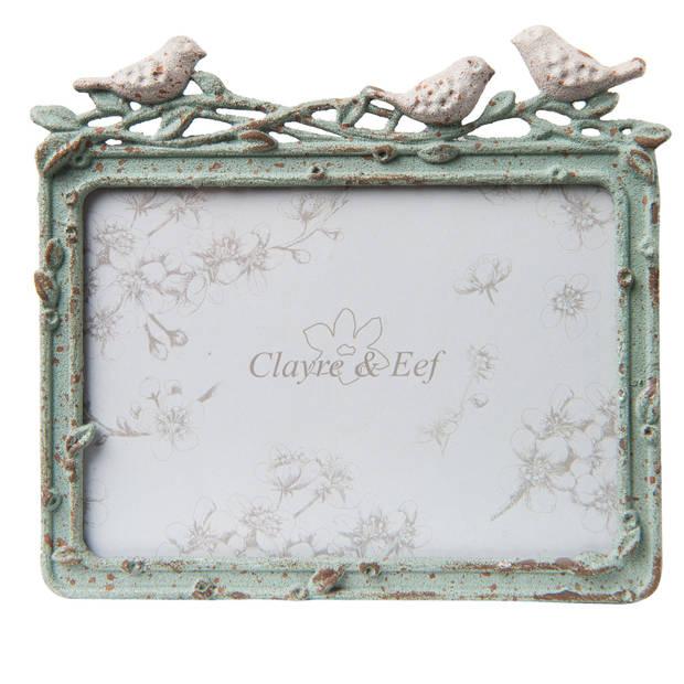 Clayre & eef fotolijst 14x2x12 / 12x9 cm - groen - kunststof