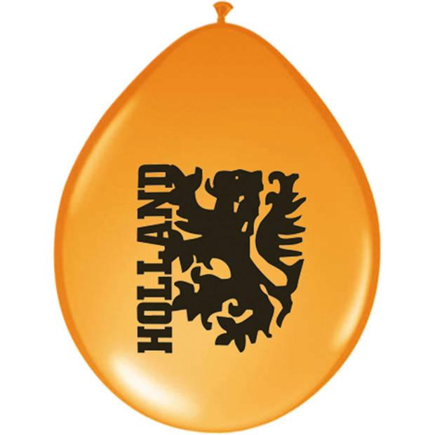 Oranje Holland ballonnen 8 stuks - Oranje EK/ WK artikelen/ versieringen
