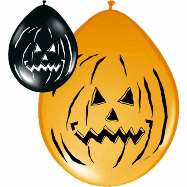 Horror ballonnen zwart en oranje 8x stuks