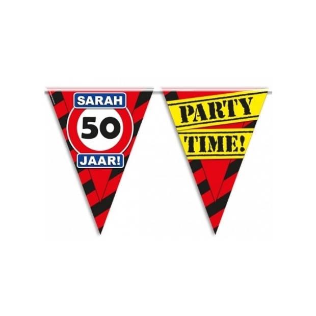 Sarah 50 jaar vlaggenlijn waarschuwingsbord 10mtr