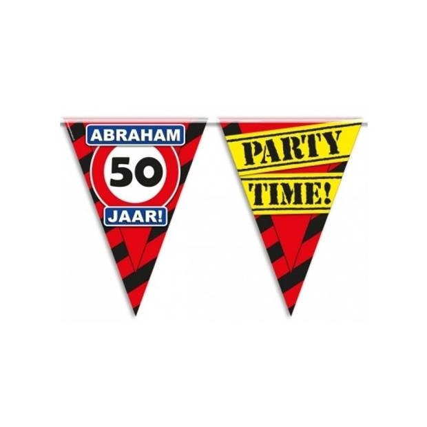 Abraham 50 jaar vlaggenlijnen waarschuwingsborden - 10 meter p/st - Feestartikelen/versiering