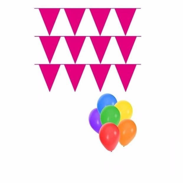Pakket 3x vlaggenlijn XL magenta incl gratis ballonnen