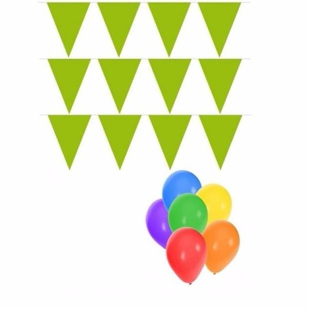 Pakket 3x vlaggenlijn XL lime incl gratis ballonnen
