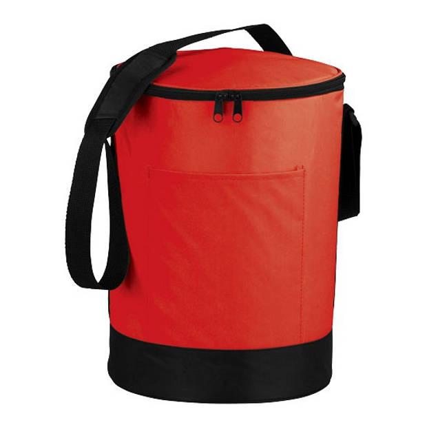 Tonvormige koeltas rood en zwart 11 liter