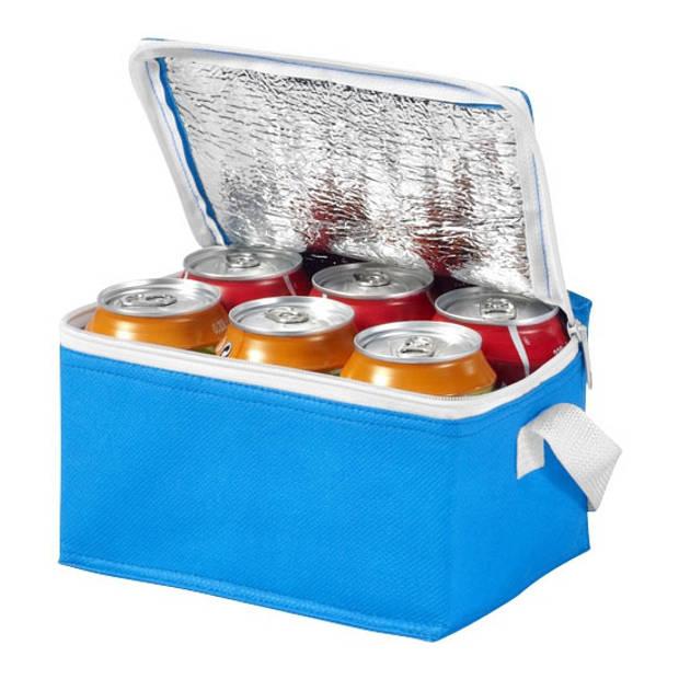 Kleine mini koeltassen blauw voor 6 blikjes 20 x 15 x 12 cm - Koeltasjes voor frisdrank/bierblikjes