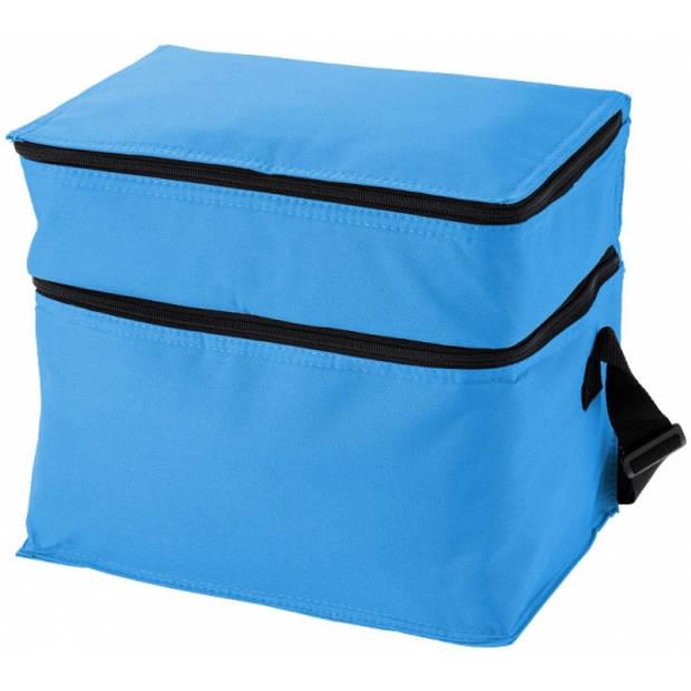 Aqua blauwe koeltas met 2 vakken 14,7 liter