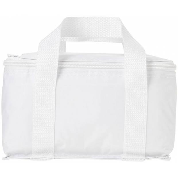 Witte kleine koeltas voor sixpack blikjes