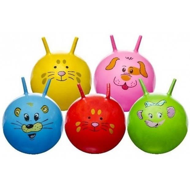 Skippybal met dieren gezicht roze 46 cm