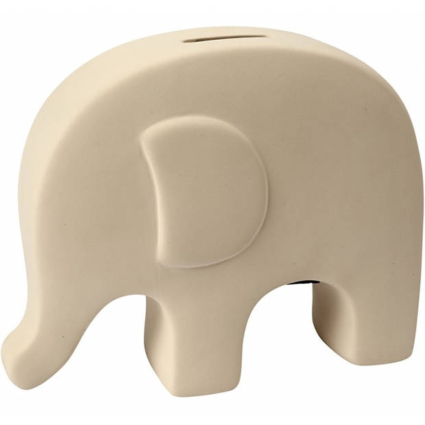 Hobby spaarpot olifant wit zelf inkleurbaar 14 x 16 cm - Zelf spaarpotten beschilderen