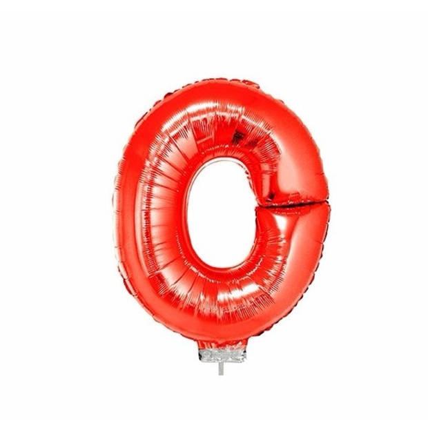 Rode opblaas letter ballon O op stokje 41 cm