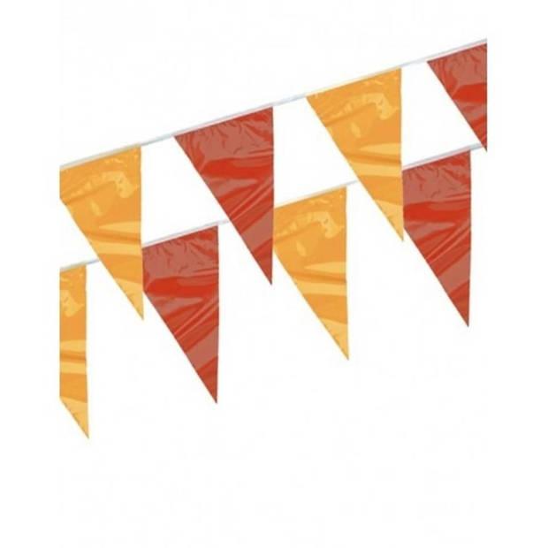 3x Vlaggenlijnen rood en geel 4 meter - Puntvlaggenlijn feestartikelen/feestdecoraties versiering