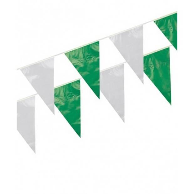 3x Plastic vlaggenlijn groen/wit