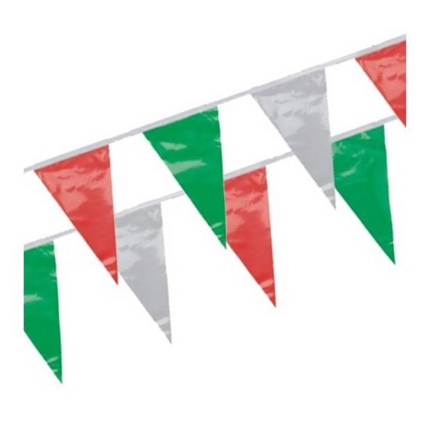 3x Vlaggenlijn groen/rood/wit 4 meter