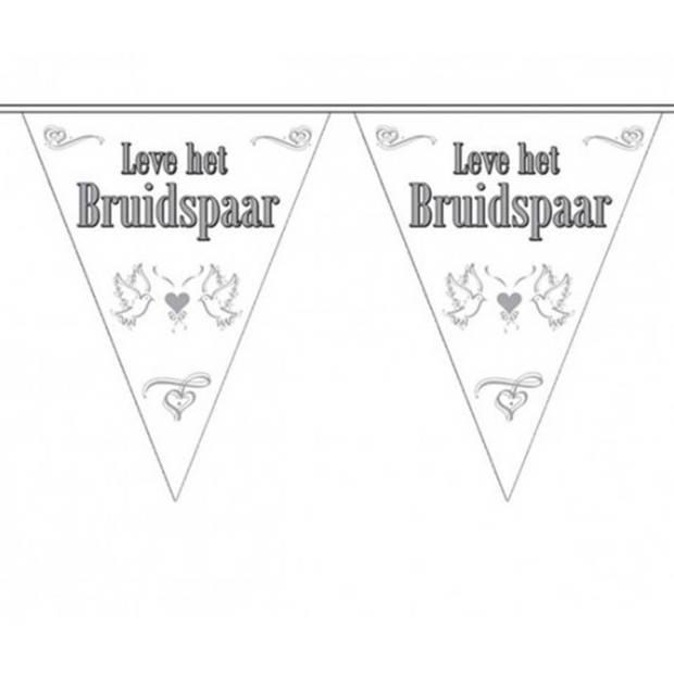 Bruiloft versiering - 3x stuks Vlaggenlijnen Bruiloft / Bruidspaar / Huwelijk /Trouwen