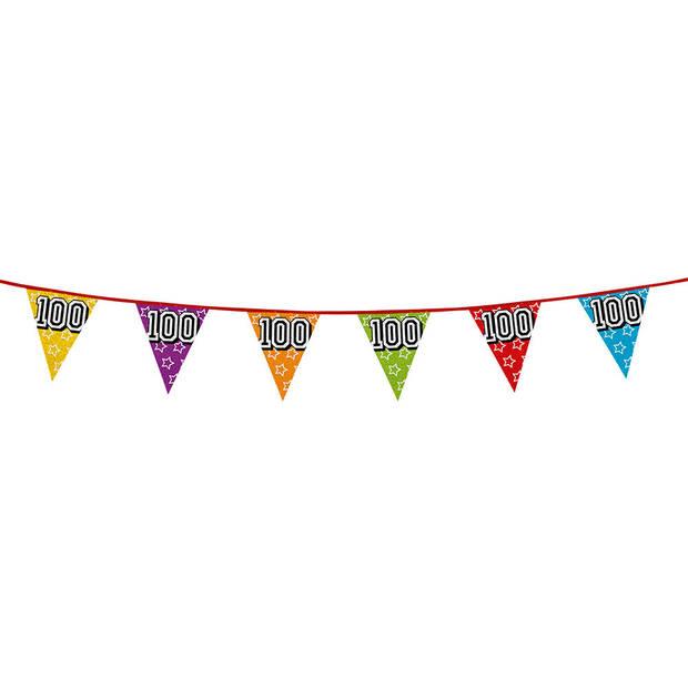 1x stuks vlaggenlijnen met glitters 100 jaar thema feestartikelen - Verjaardag versieringen - 8 meter - Plastic