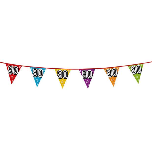 1x stuks vlaggenlijnen met glitters 90 jaar thema feestartikelen - Verjaardag versieringen - 8 meter - Plastic