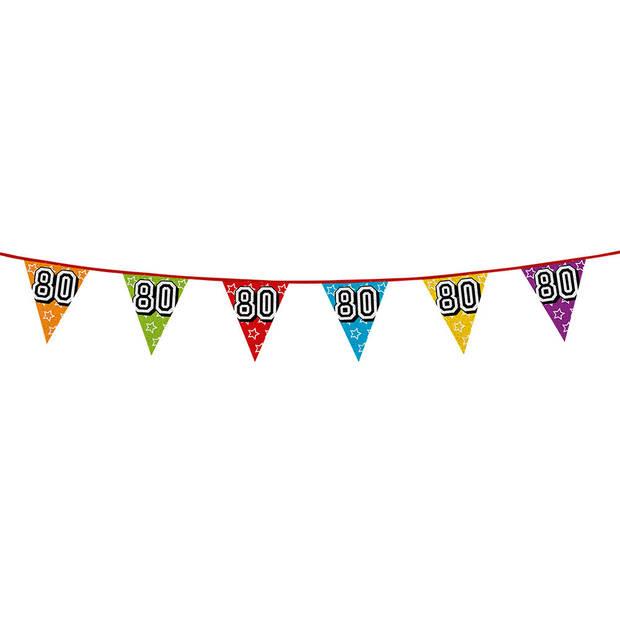 1x stuks vlaggenlijnen met glitters 80 jaar thema feestartikelen - Verjaardag versieringen - 8 meter - Plastic