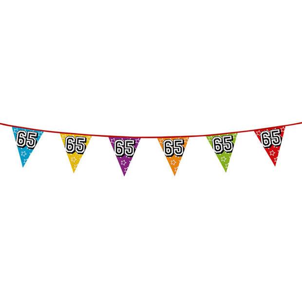 1x stuks vlaggenlijnen met glitters 65 jaar thema feestartikelen - Verjaardag versieringen - 8 meter - Plastic
