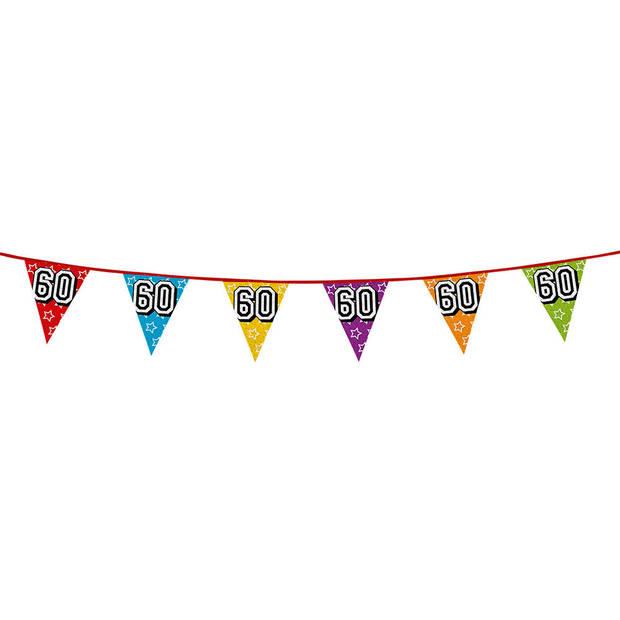 1x stuks vlaggenlijnen met glitters 60 jaar thema feestartikelen - Verjaardag versieringen - 8 meter - Plastic