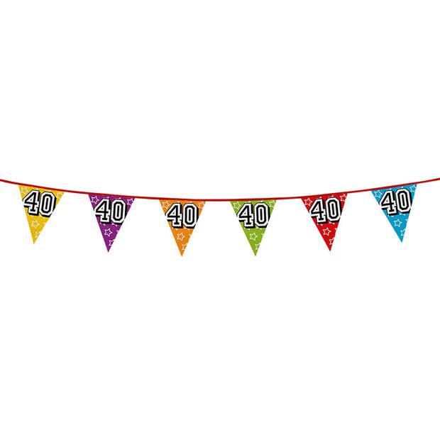 1x stuks vlaggenlijnen met glitters 40 jaar thema feestartikelen - Verjaardag versieringen - 8 meter - Plastic