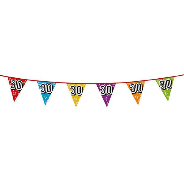 1x stuks vlaggenlijnen met glitters 30 jaar thema feestartikelen - Verjaardag versieringen - 8 meter - Plastic