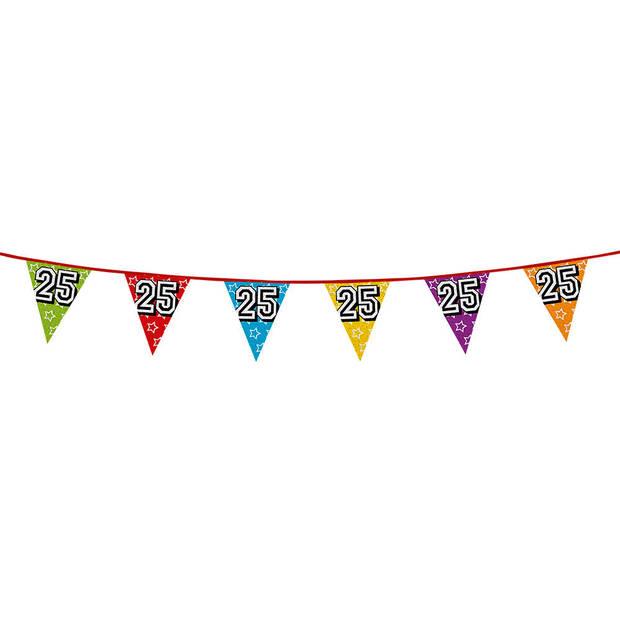 1x stuks vlaggenlijnen met glitters 25 jaar thema feestartikelen - Verjaardag versieringen - 8 meter - Plastic
