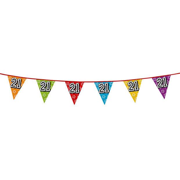 1x stuks vlaggenlijnen met glitters 21 jaar thema feestartikelen - Verjaardag versieringen - 8 meter - Plastic