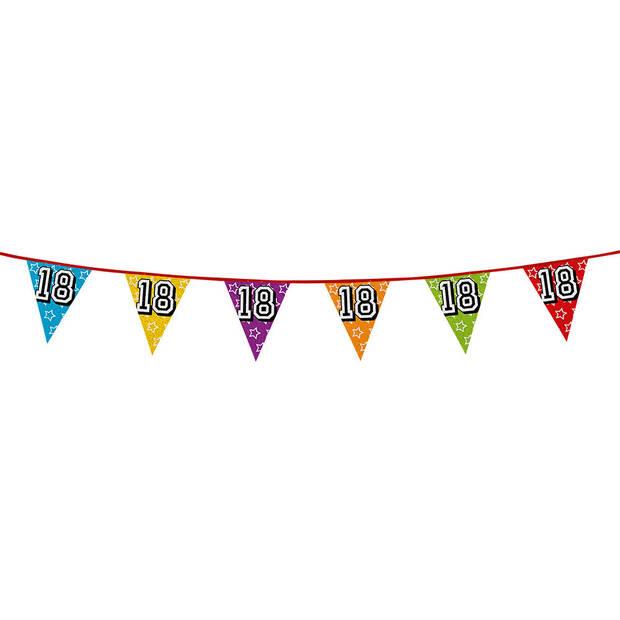 1x stuks vlaggenlijnen met glitters 18 jaar thema feestartikelen - Verjaardag versieringen - 8 meter - Plastic