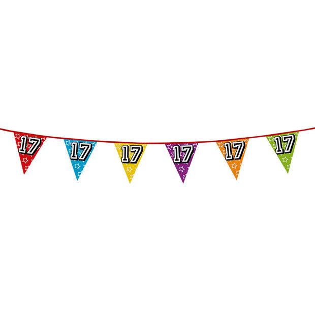 1x stuks vlaggenlijnen met glitters 17 jaar thema feestartikelen - Verjaardag versieringen - 8 meter - Plastic