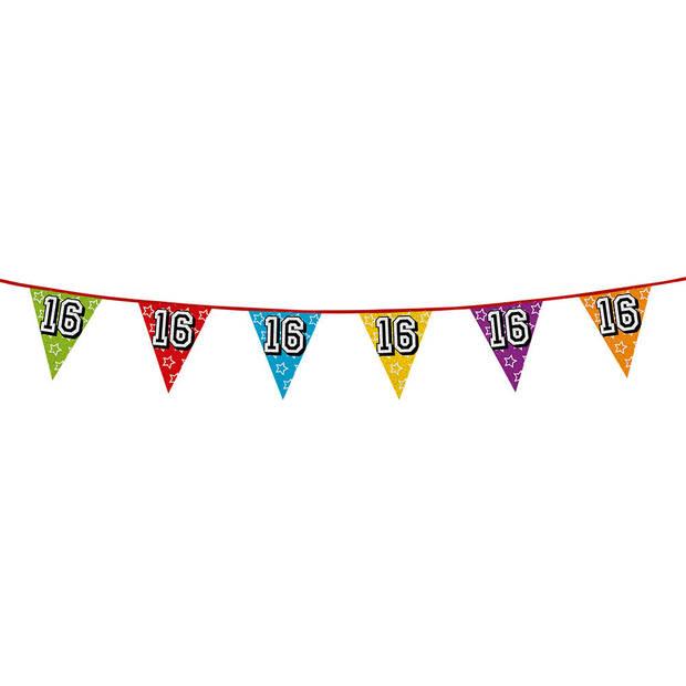 1x stuks vlaggenlijnen met glitters 16 jaar thema feestartikelen - Verjaardag versieringen - 8 meter - Plastic
