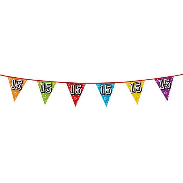 1x stuks vlaggenlijnen met glitters 15 jaar thema feestartikelen - Verjaardag versieringen - 8 meter - Plastic