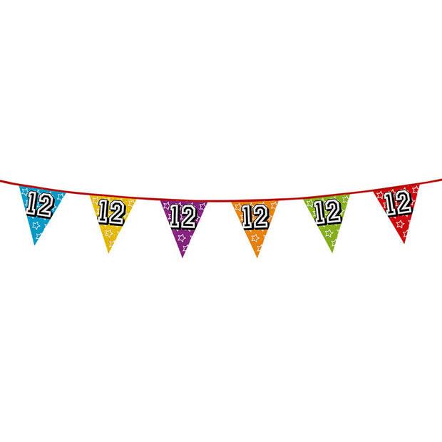 1x stuks vlaggenlijnen met glitters 12 jaar thema feestartikelen - Verjaardag versieringen - 8 meter - Plastic