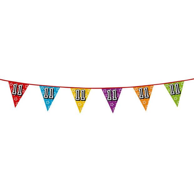1x stuks vlaggenlijnen met glitters 11 jaar thema feestartikelen - Verjaardag versieringen - 8 meter - Plastic