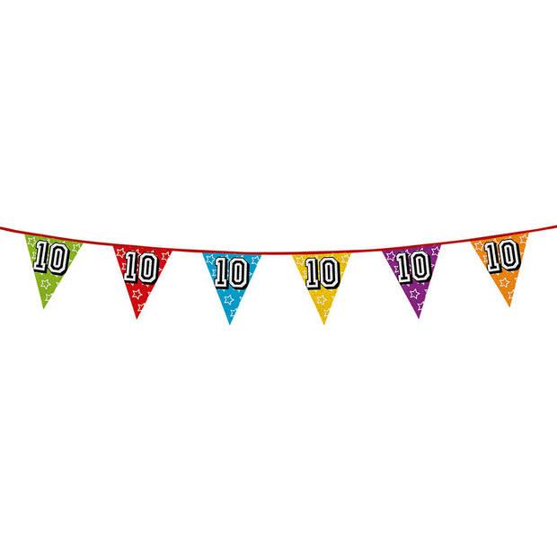 1x stuks vlaggenlijnen met glitters 10 jaar thema feestartikelen - Verjaardag versieringen - 8 meter - Plastic