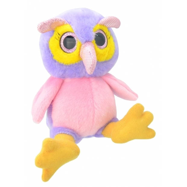 Pluche uil knuffel 18 cm roze/paars
