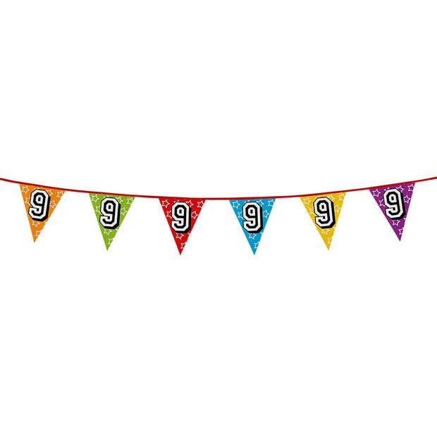 1x stuks vlaggenlijnen met glitters 9 jaar thema feestartikelen - Verjaardag versieringen - 8 meter - Plastic