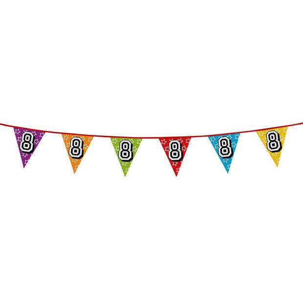 1x stuks vlaggenlijnen met glitters 8 jaar thema feestartikelen - Verjaardag versieringen - 8 meter - Plastic