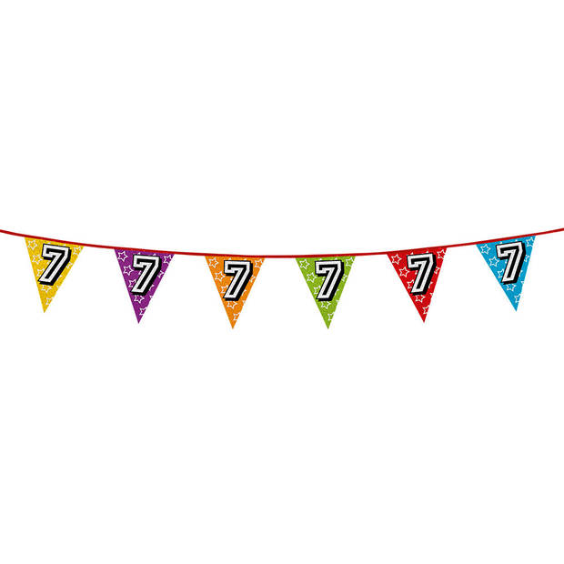 1x stuks vlaggenlijnen met glitters 7 jaar thema feestartikelen - Verjaardag versieringen - 8 meter - Plastic